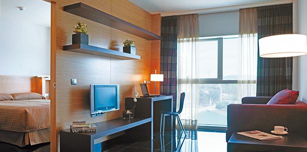 type room apartment overlooking Barcelona Hesperia Fira Suites